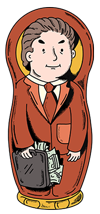 Matryoshka nesting doll in a business suit