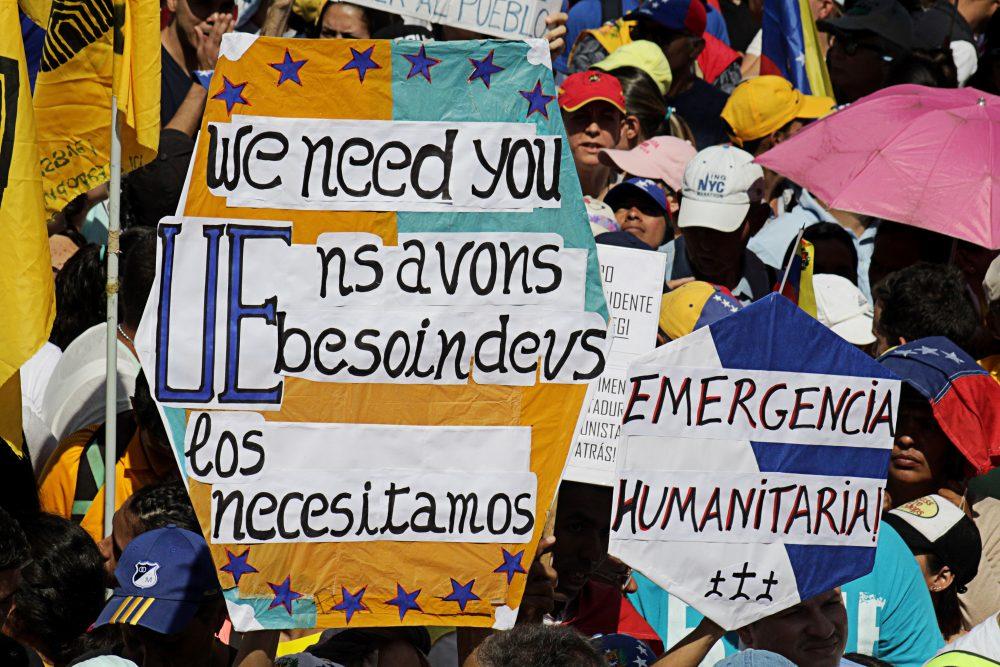 Demonstrators in Venezuela's capital Caracas