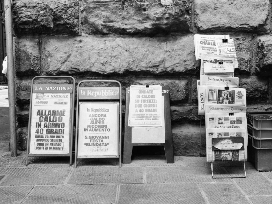 Newspapers on the street